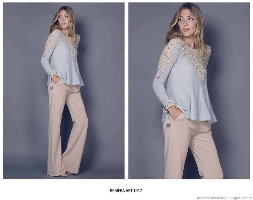 Blusas tejidas invierno 2015 Agostina Bianchi.