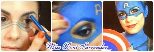 Maquillaje del Capitan America por Miss Dont Surrender collage