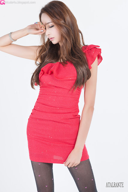 2 Eun Bin in Lovely Red-Very cute asian girl - girlcute4u.blogspot.com