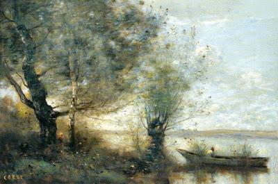 Corot - Bateau près d'une rivière