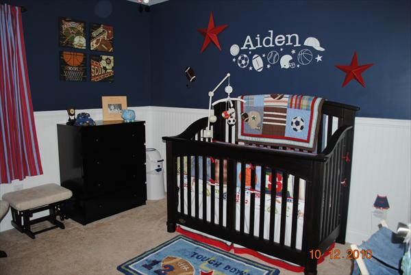 Boy 39 s room on pinterest sports themed bedrooms baseball for Baby boy s room decoration