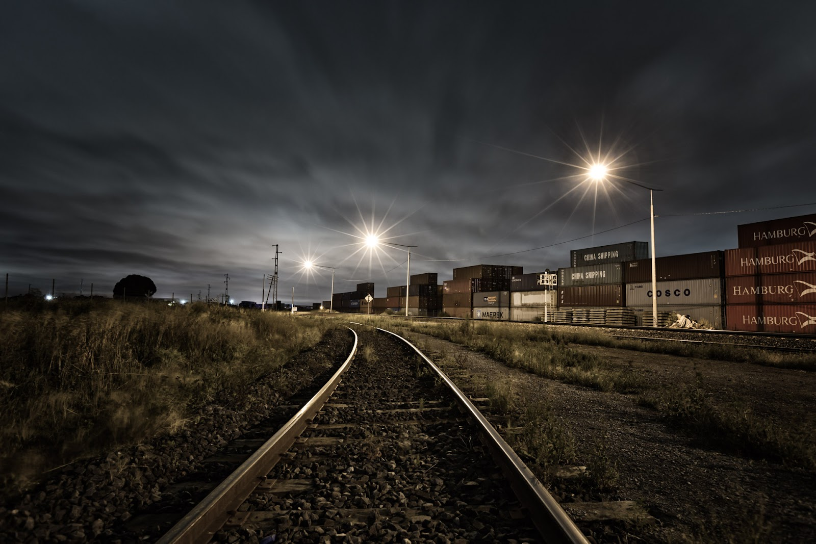 railway line at night