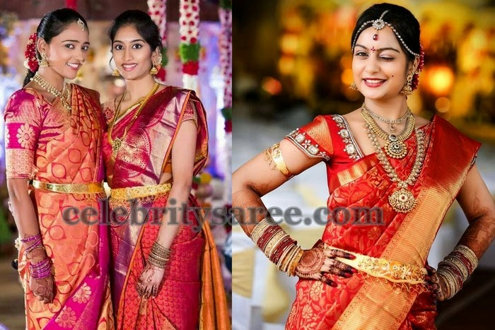 Pretty Ladies in kanchi Pattu Sarees