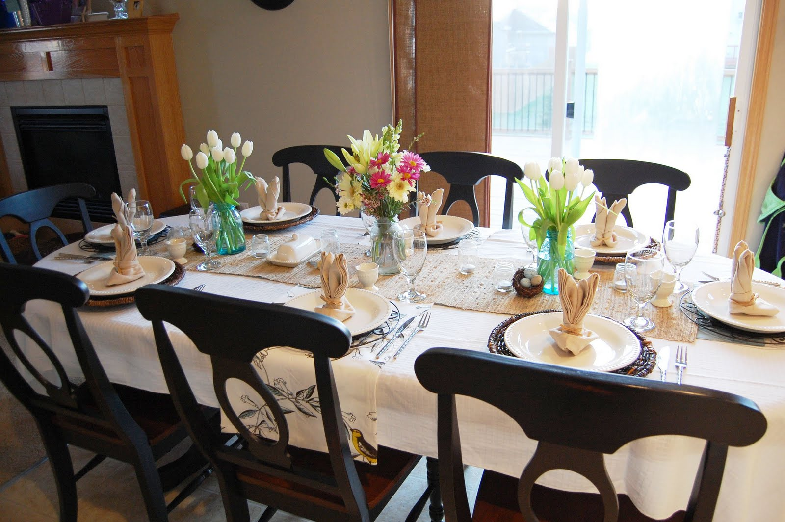 on the v side easter table i started with my plain white tablecloth then placed this woven jute seagrass table runner down the center it wasn t quiiite long enough