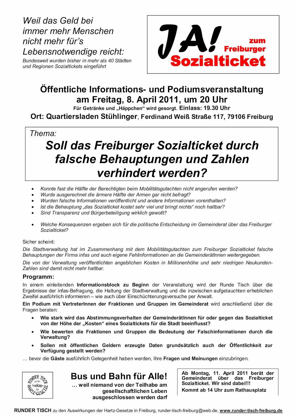 runder tisch freiburg: märz 2011 | hartz4 jobcenter mietobergrenze, Einladung