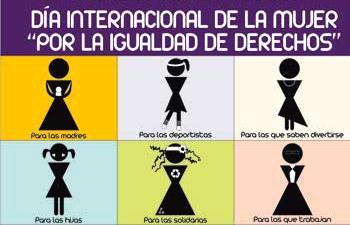 Letrero por el Día Internacional de la mujer mencionando con imágenes sus derechos
