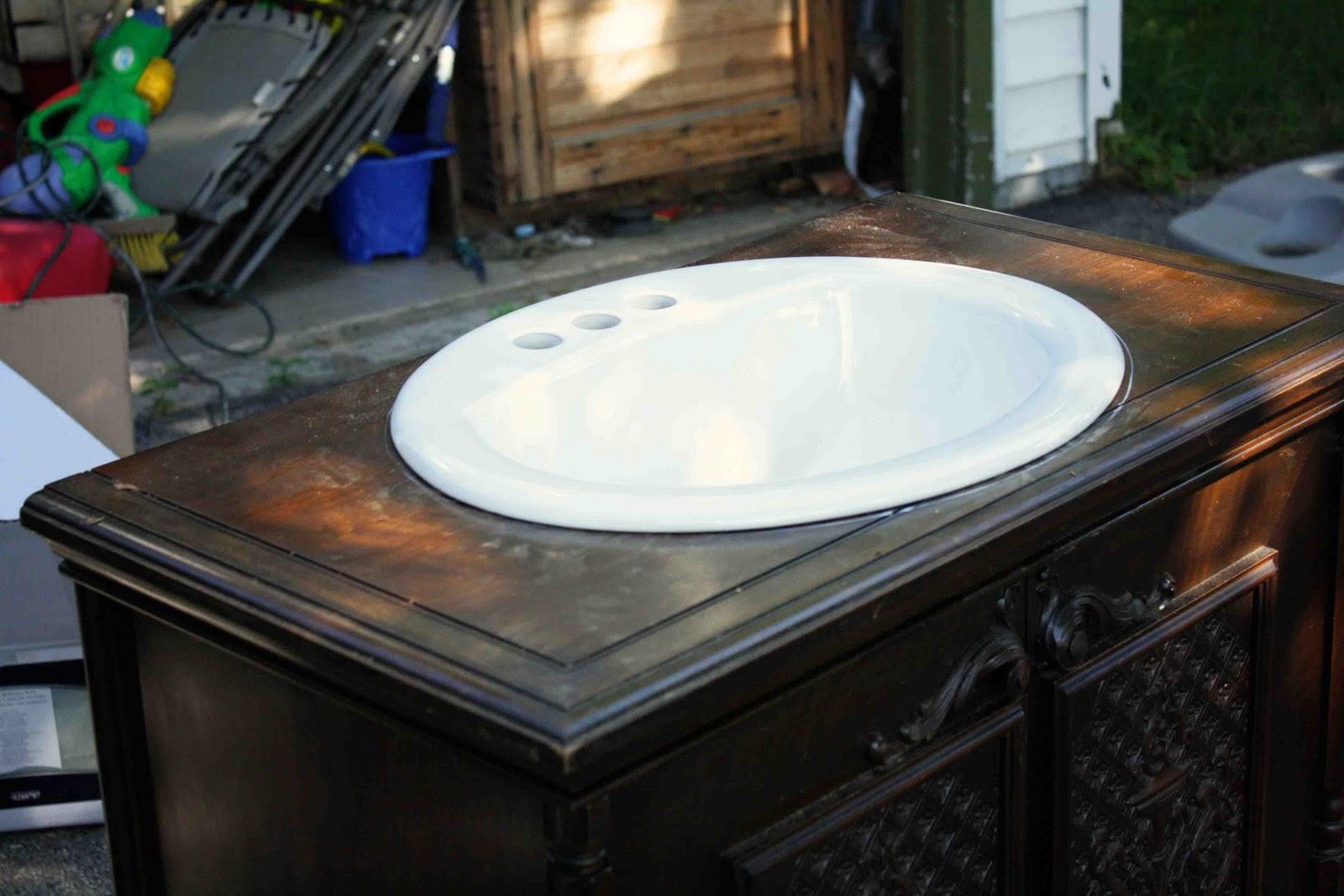 DIY Dresser into Bathroom Vanity Cabinet