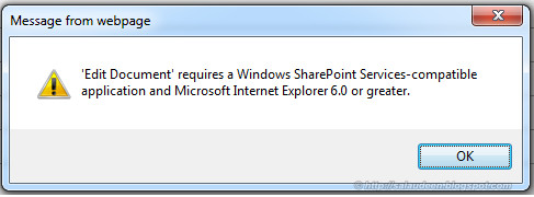 'Edit Document' Requires a Windows Sharepoint Services-compatible application and Microsoft Internet Explorer 6.0 or higher