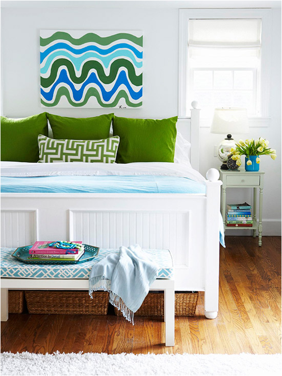 this blue and green bedroom is very simple but yet in your face and