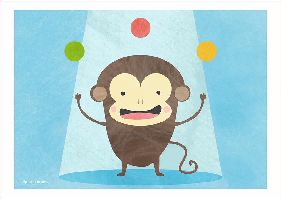 lamina para niños mono en el circo