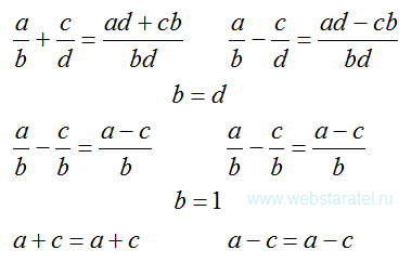 Дроби и целые числа. Преобразование сложения и вычитания дробей в сложение и вычитание целых чисел. Математика для блондинок.