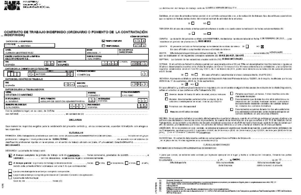 Contrato modelo contrato a trmino indefinido de trabajo for Modelo contrato indefinido