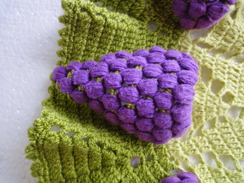 Вязание салфетки виноград 14