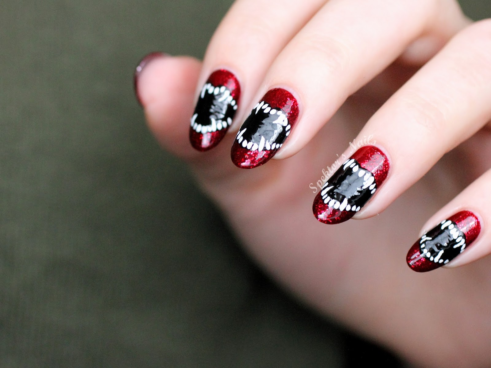 Vampire Teeth Halloween Nail Art LLAfterDark