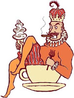 drawing of an emperor in a coffee cup with ice cream
