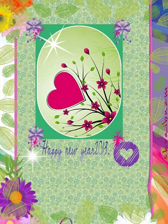 Happy new year 2013 flowers cards