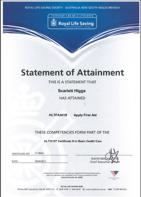 scarlett entertainment hsc 2012 first aid certificates