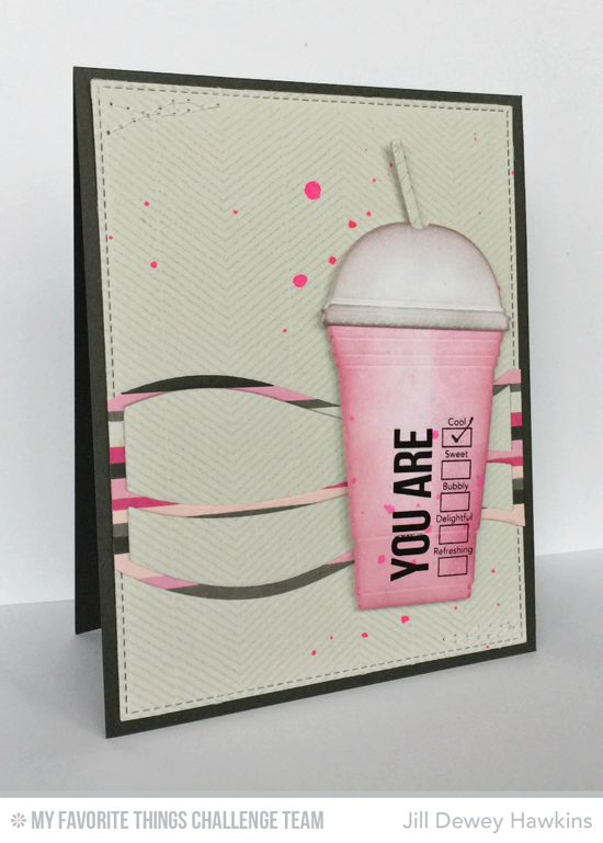 Pink Cup Card by Jill Dewey Hawkins featuring the Laina Lamb Designs Stay Cool stamp set and Cool Cup Die-namics and the Snow Drifts Cover-Up Die-namics #mftstamps
