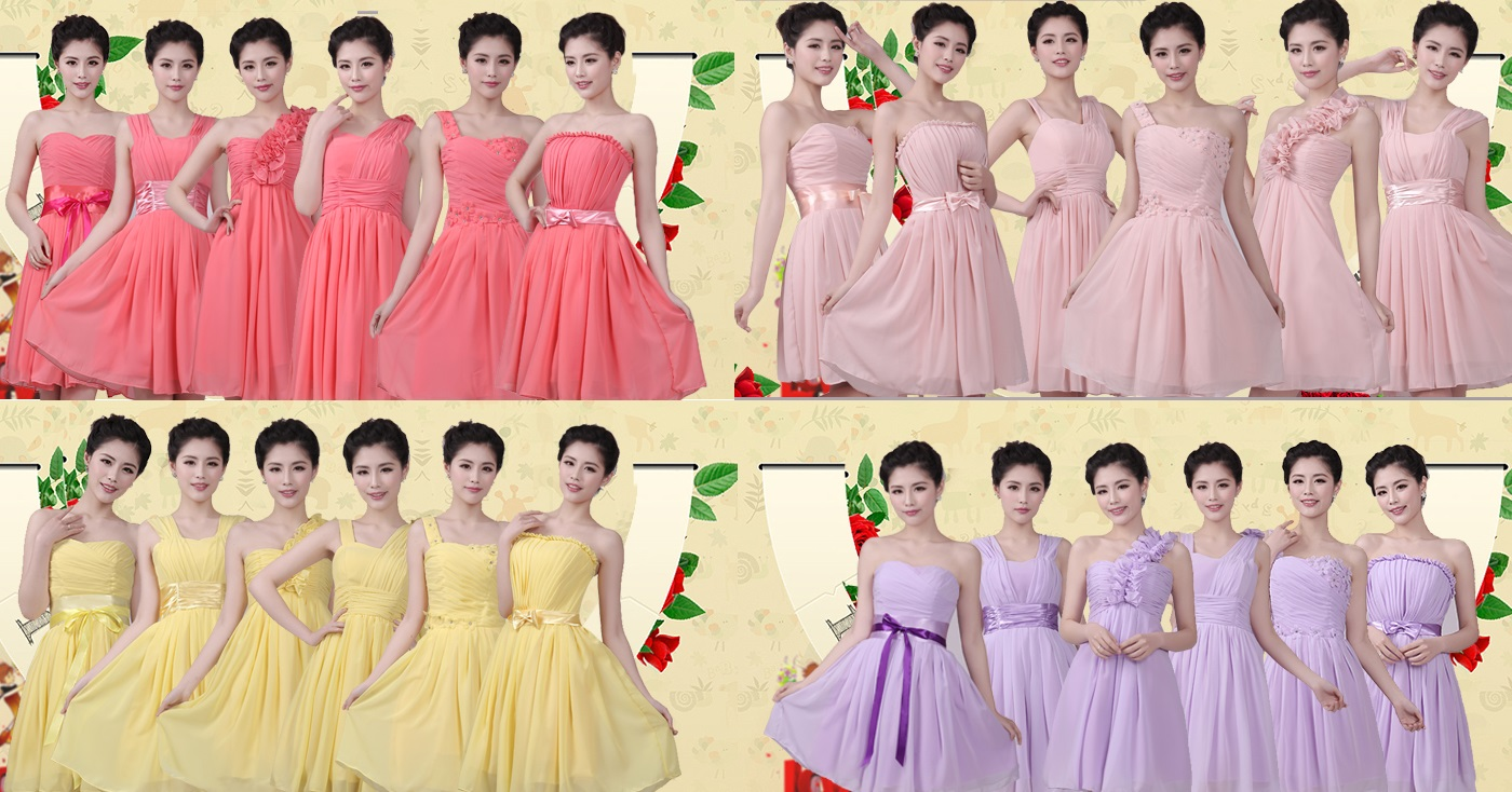 5-Color Set Simple-Beauty Midi Bridesmaids Dress