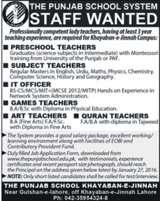 Teachers Jobs at The Punjab School System Lahore for Different Subjects