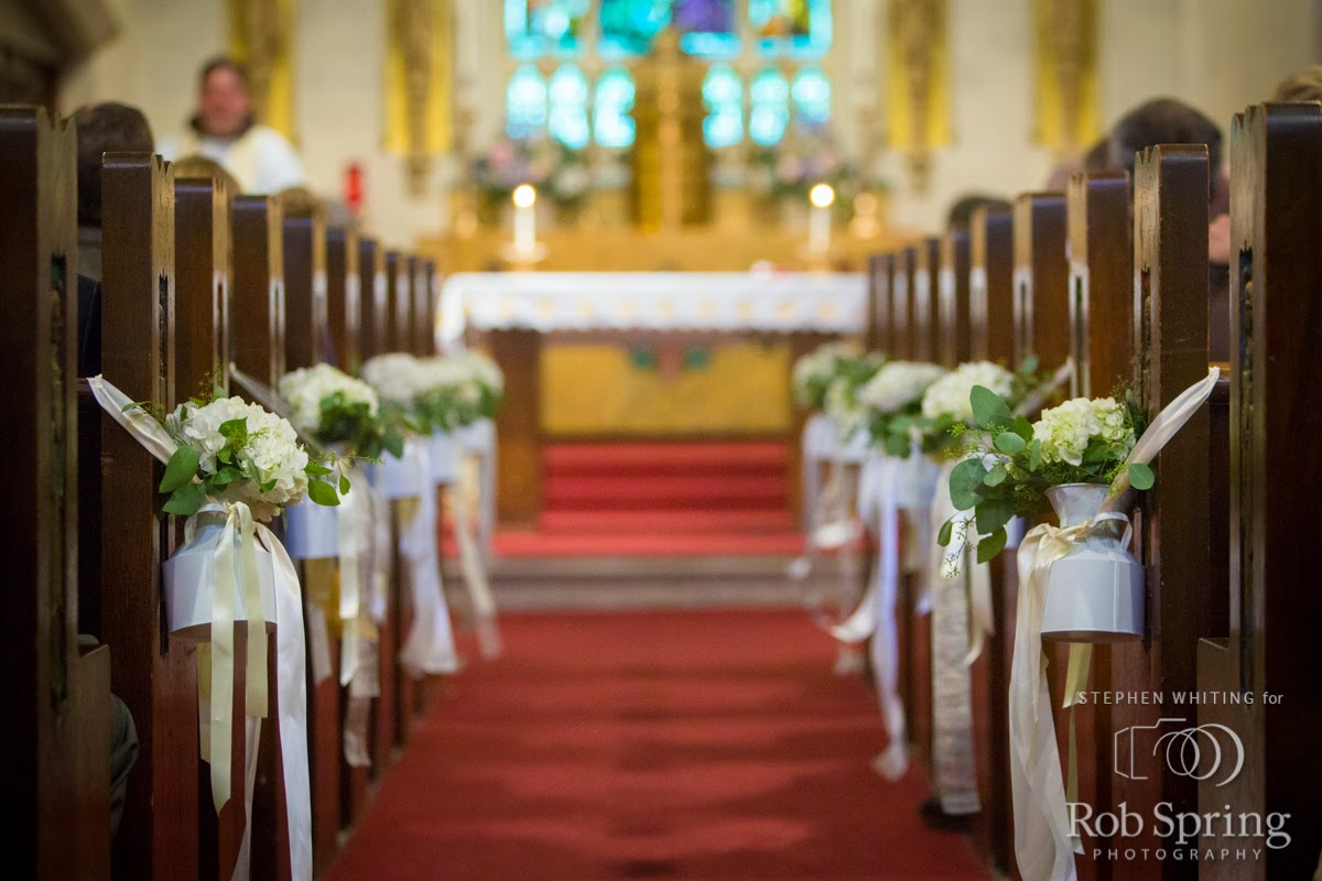 Lake George Wedding Flowers - Sacred Heart Church Pew Cones - Ceremony Decor - Top of the World Golf Resort Wedding - Lake George Wedding - Upstate NY Wedding - Lake George NY Wedding - Splendid Stems Floral Designs