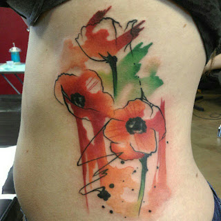 Watercolor Poppies Tattoo
