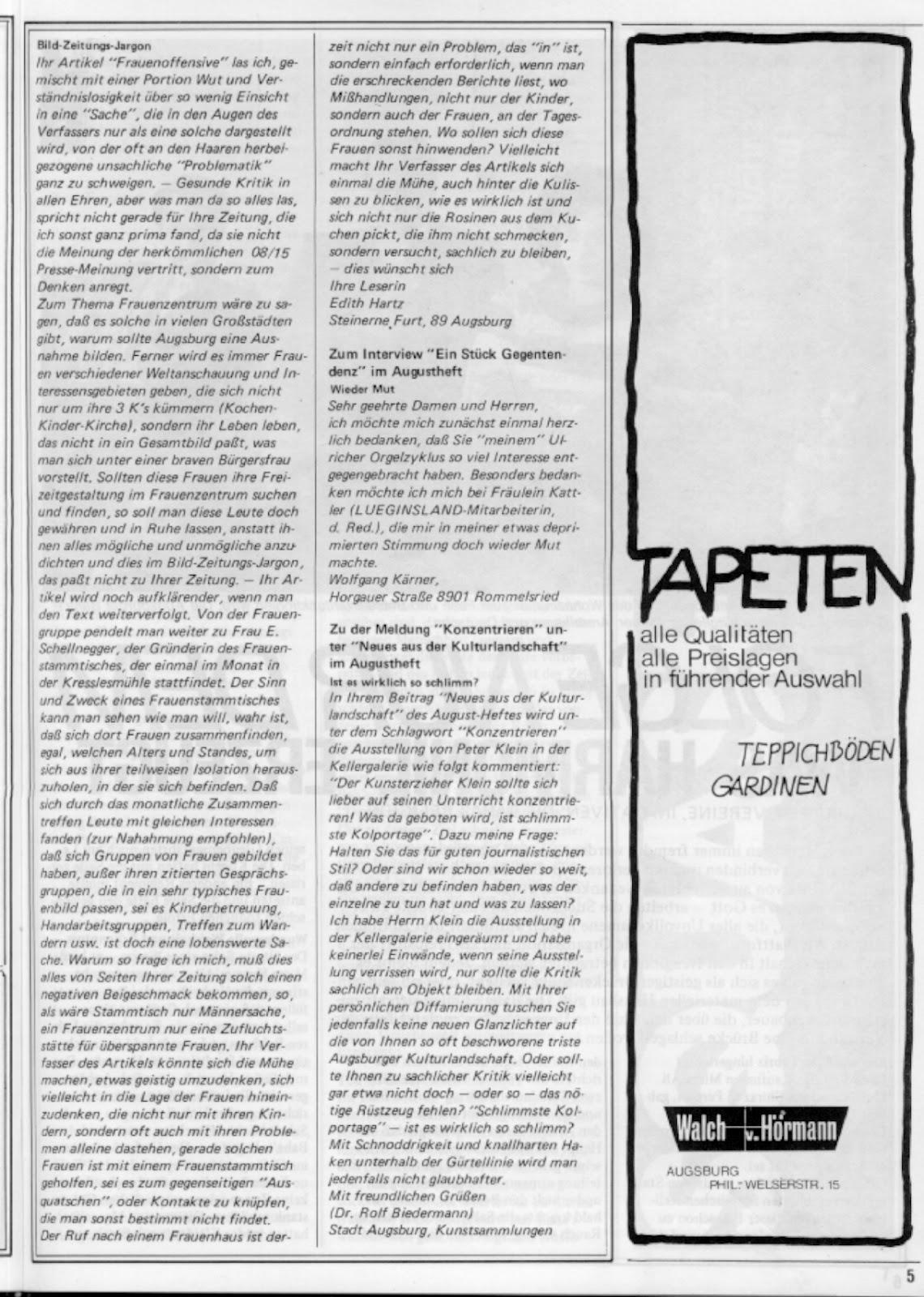 Stadtmagazin Lueginsland Augsburg: Lueginsland Ausgabe September 1978