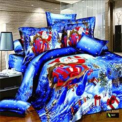 Santa Claus Blue White Snow Prints Duvet Cover Set