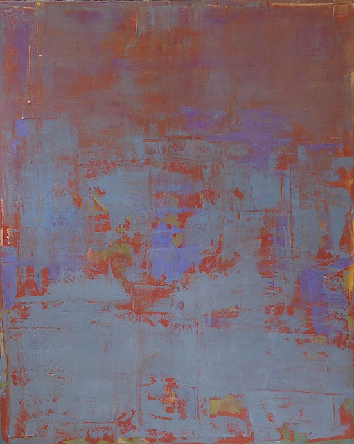 Large abstract painting by artist Karri Allrich titled Aqua Terra, 50 x 40 inches.