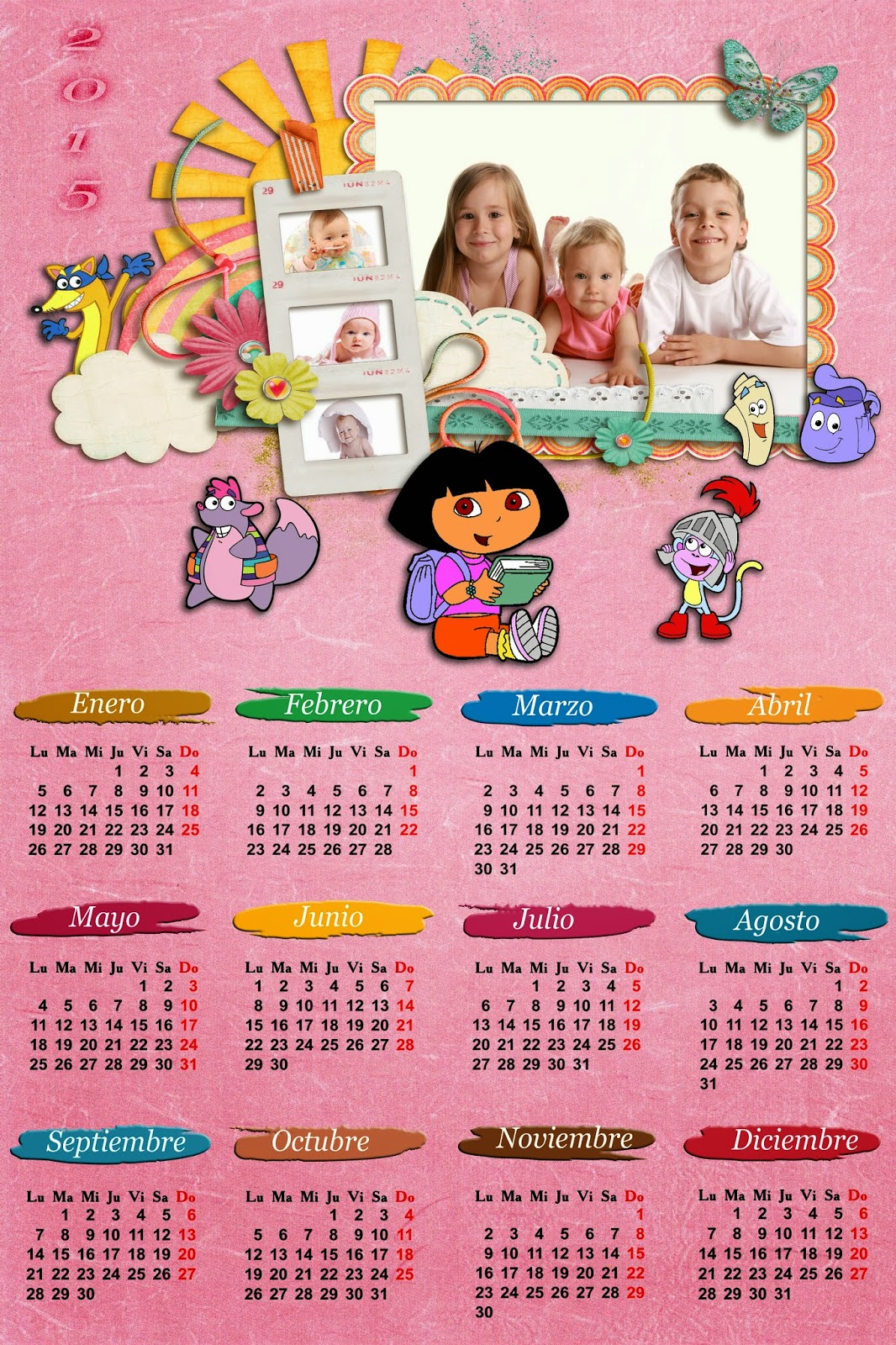 Calendario infantil 2015 Dora la exploradora para Photoshop (Psd+Png)
