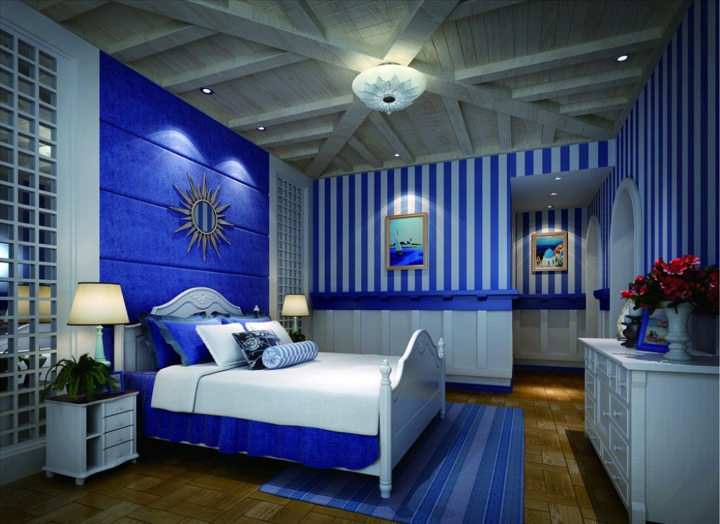 Bedroom ideas - Blue and white themed bedroom ...