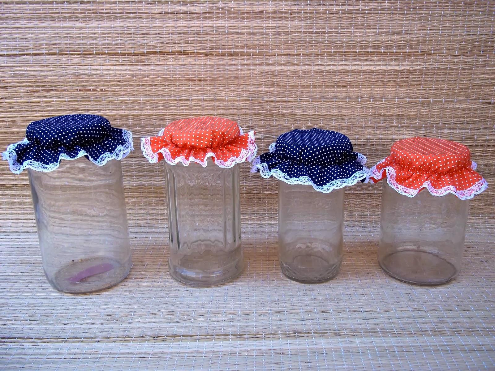 Ladokinha Artesanato Tampa de Tecido para Pote de Vidro -> Decorar Potes De Vidro Com Tecido