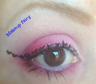 eye makeup look heart winged liner