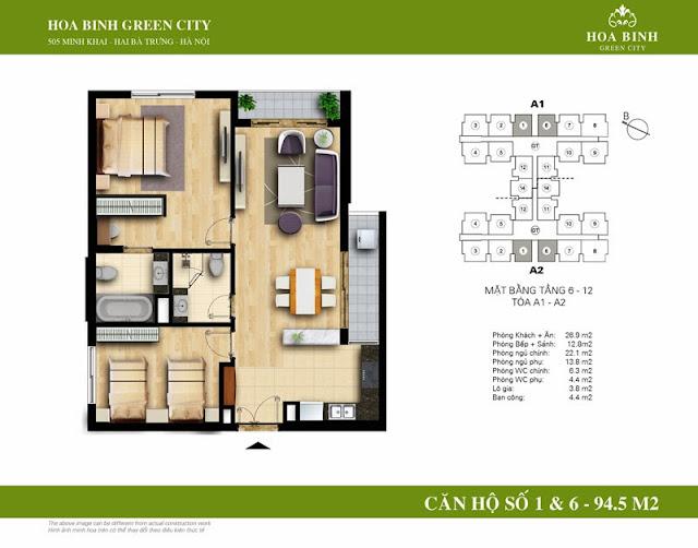 chung cư Hòa Bình Green City Căn hộ số 1 , 6 dt 94.5m2