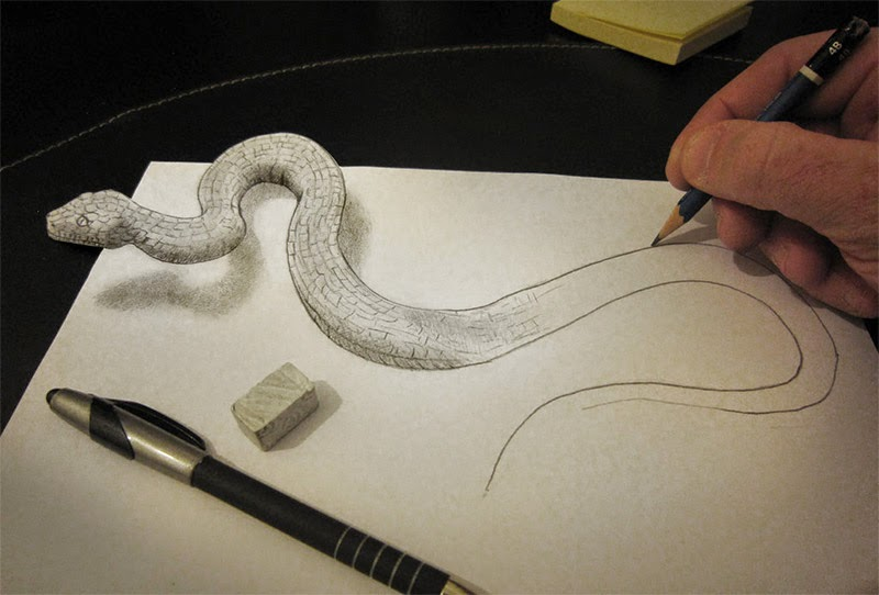 Snake pencil rubber drawing wallpapers