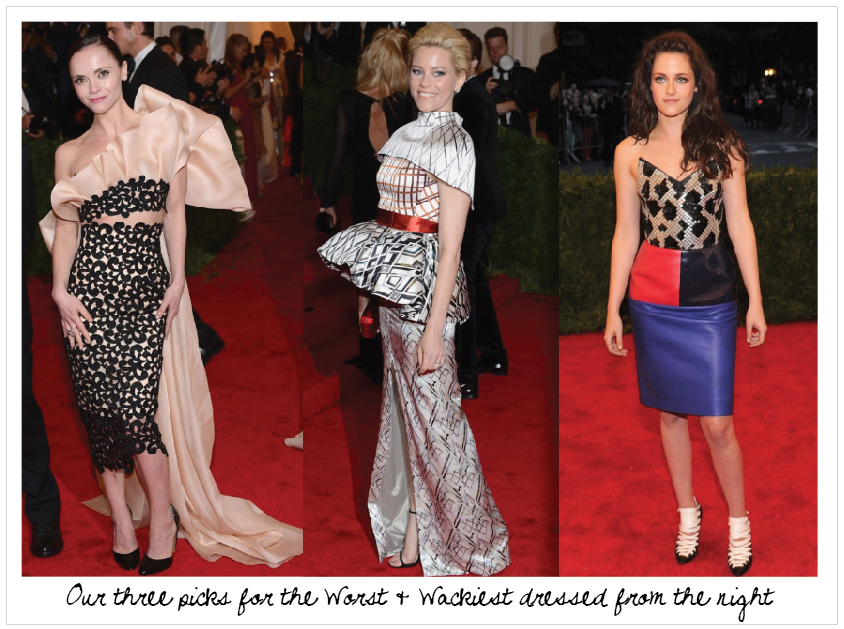Christina Ricci In Thakoon, Elizabeth Banks In Mary Katrantzou {ouch} And  Kristen Stewart In Balenciaga {we Love The Dress But Not For The Gala} Are  Our ...