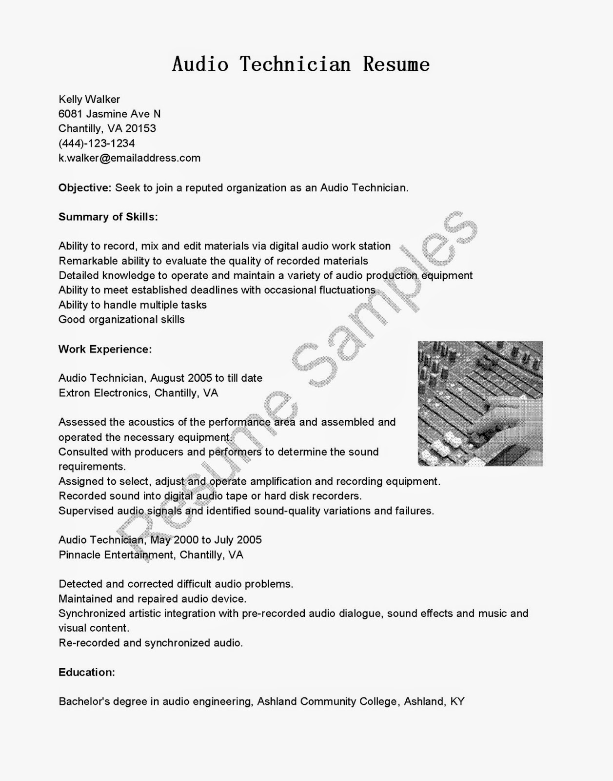resume samples audio technician resume sample