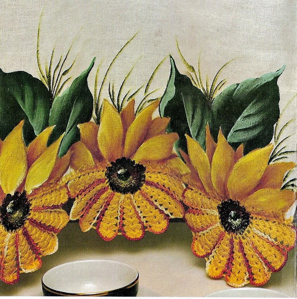 croche com receita barrados bicos pano de copa flores girassol pintura aprender croche dvd loja curso de croche