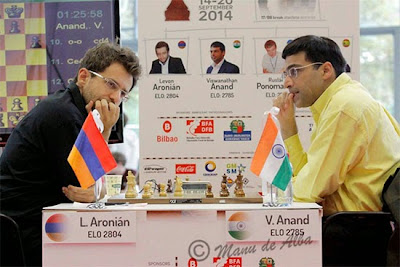 Echecs à Bilbao : ronde 6 - Levon Aronian (2804) 1-0 Viswanathan Anand (2785)