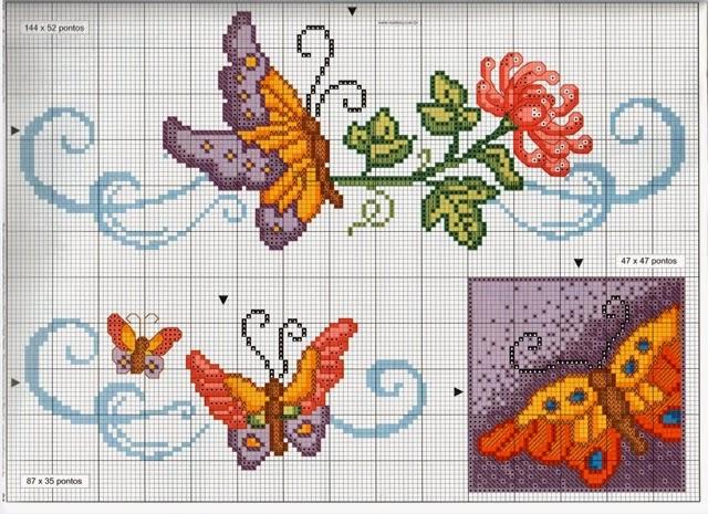 Hobby lavori femminili ricamo uncinetto maglia for Farfalle punto croce