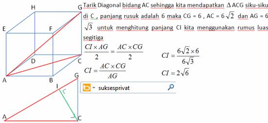 Jarak titik ke garis diagonal ruang kubus