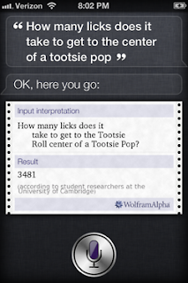 Siri: How many licks does it take to get to the center of a Tootsie pop?