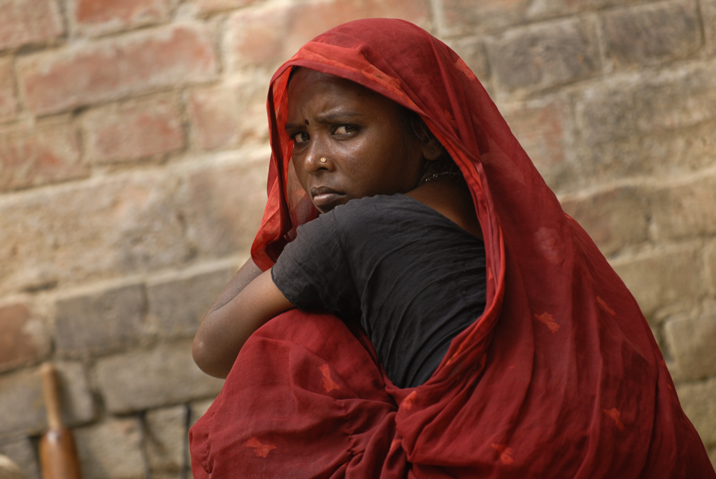 Photo of a woman outside Varanasi in Uttar Pradesh in India