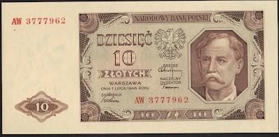 Polonia 10 Zlotych 1948 P# 136