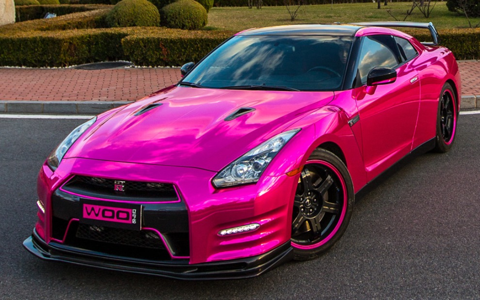 A Nissan Gt R And A Maserati Quattroporte With Pink Chrome
