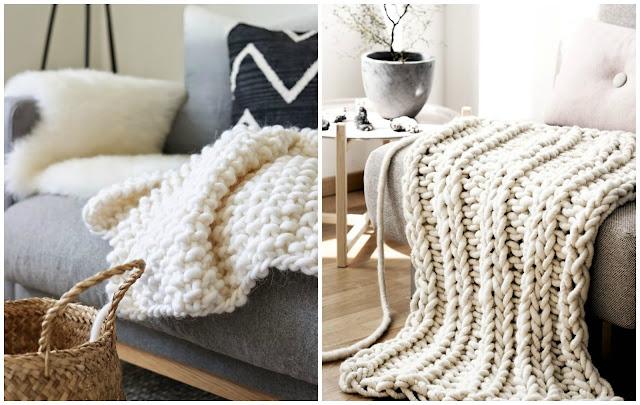 Manta de lana gruesa diy diariodeco - Mantas de punto hechas a mano ...