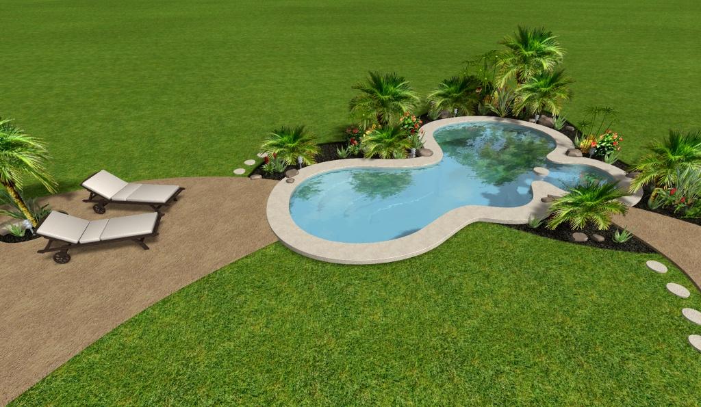 modelo de piscina + jardín virtual tropcial, vista aerea1