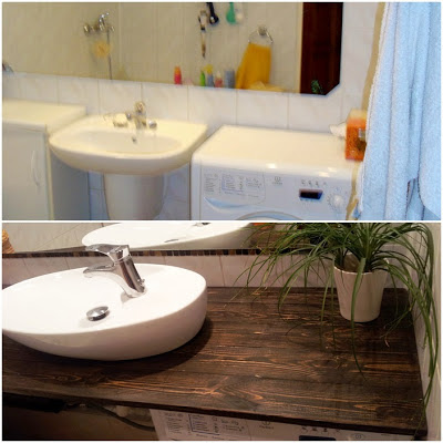 metamorfoza łazienki krok po kroku,drewno w łazience