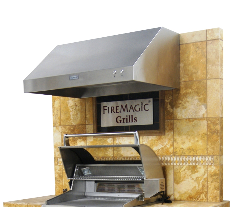 Outdoor kitchen new firemagic vent hood electric grill for Outdoor kitchen grill hood