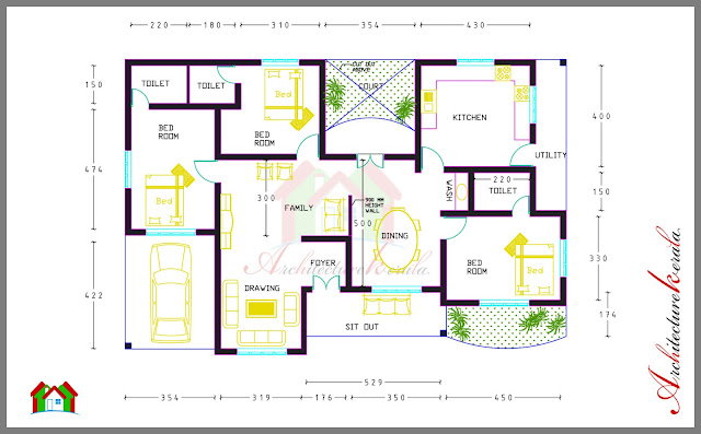 3 bed room house plan with room dimensions architecture kerala Master bedroom size m2